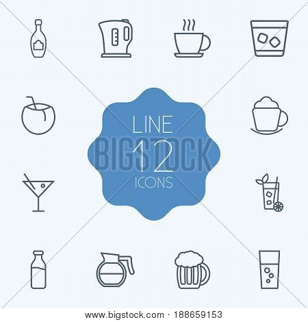 Set Of 12 Beverages Outline Icons Set.Collection Of Cocktail, Glass, Hotdrink And Other Elements.