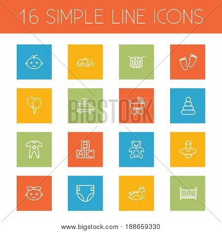 Set Of 16 Kid Outline Icons Set.Collection Of Footprints, Nipple, Carriage And Other Elements.
