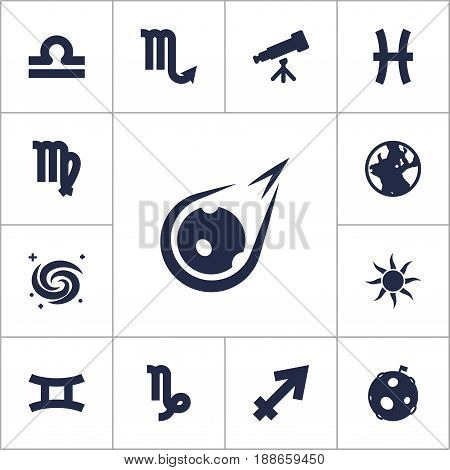Set Of 13 Astronomy Icons Set.Collection Of Earth Planet, Goat, Binoculars And Other Elements.