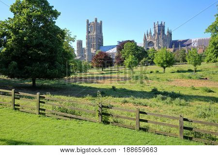 View of the Cathedral from Cherry Hill Park in Ely, Cambridgeshire, Norfolk, UK