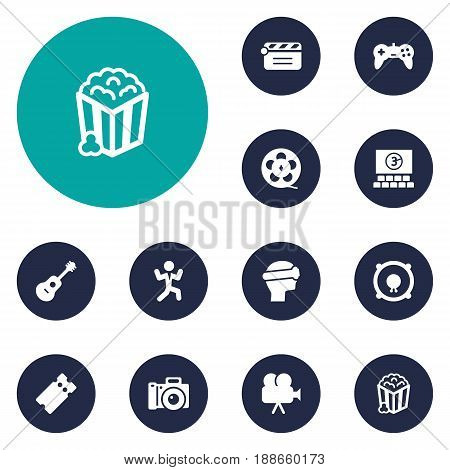 Set Of 12 Amusement Icons Set.Collection Of Hall, Camera, Action And Other Elements.