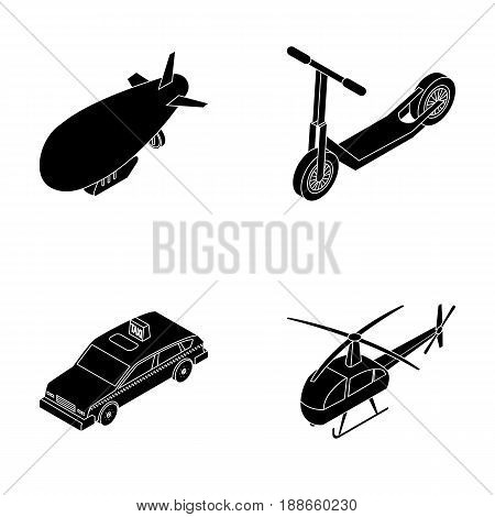 A dirigible, a children s scooter, a taxi, a helicopter.Transport set collection icons in black style vector symbol stock illustration .