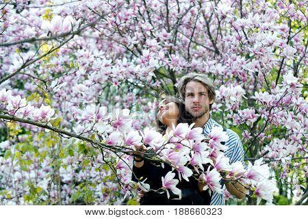 Handsome Man And Pretty Girl Enjoying Magnolia Flower Blossom