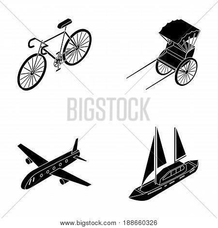 Bicycle, rickshaw, plane, yacht.Transport set collection icons in black style vector symbol stock illustration .