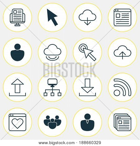 Web Icons Set. Collection Of Website Bookmarks, Wifi, Virtual Storage And Other Elements. Also Includes Symbols Such As Synchronize, Account, Upload.
