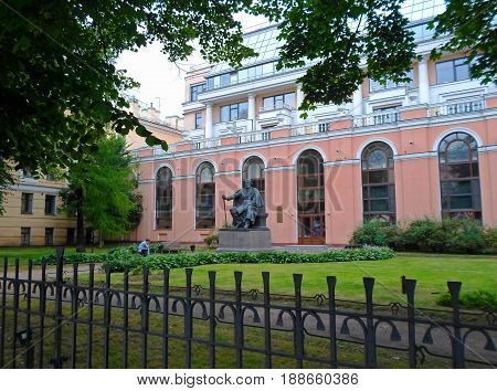 Monument to the famous russian writer I.S. Turgenev, Saint Petersburg, Russia - July 2016