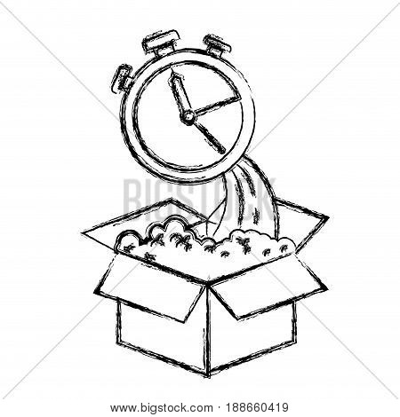 monochrome blurred silhouette of cardboard box and stopwatch vector illustration