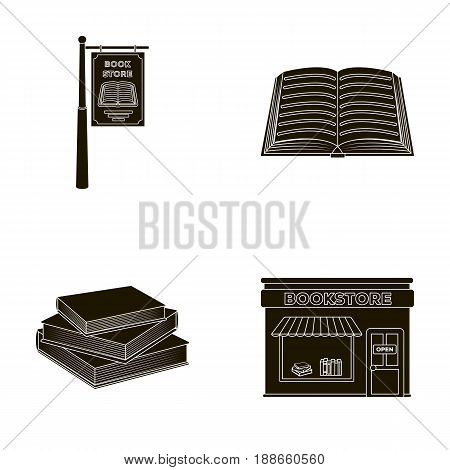 A signboard, a bookstore, a stack of books, an open book. A library and a bookstore set collection icons in black style vector symbol stock illustration .