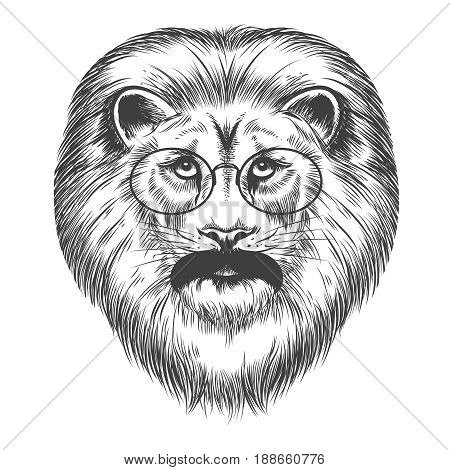 Hipster lion isolated on white background, vector illustration. Lion with mustache and eyeglasses