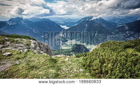 Landscape and Mountain with lake view Hallstatt Austria