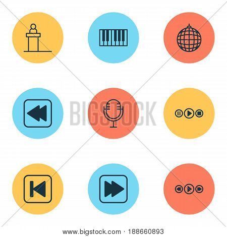 Audio Icons Set. Collection Of Rostrum, Piano, Song UI And Other Elements. Also Includes Symbols Such As Party, Audio, Music.