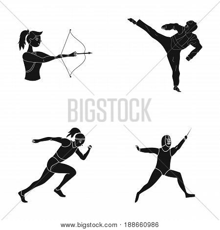 Archery, karate, running, fencing. Olympic sport set collection icons in black style vector symbol stock illustration .