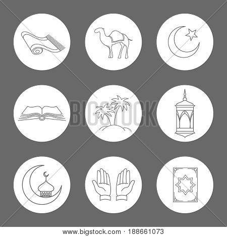 Arabic linear icons set. Vector muslim symbols on white rounds