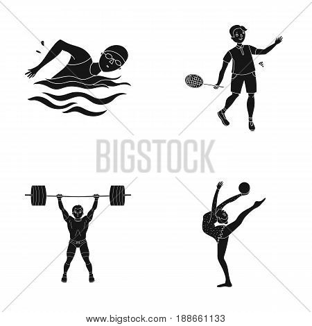 Swimming, badminton, weightlifting, artistic gymnastics. Olympic sport set collection icons in black style vector symbol stock illustration .
