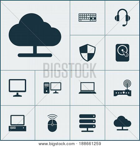 Device Icons Set. Collection Of Database, Personal Computer, Keypad And Other Elements. Also Includes Symbols Such As Modem, Control, Microphone.