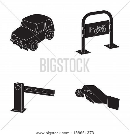 Car, parking barrier, bicycle parking place, coin in hand for payment. Parking zone set collection icons in black style vector symbol stock illustration .