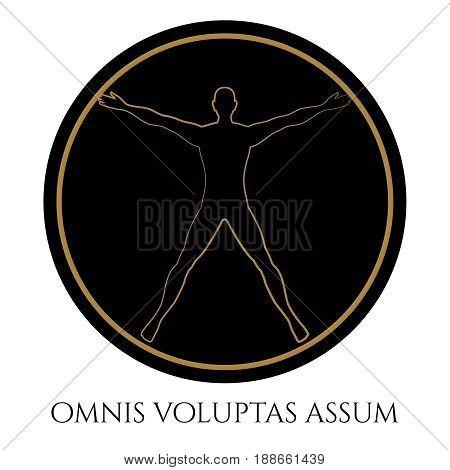 Modern vitruvian man round silhouette design. Vector illustration