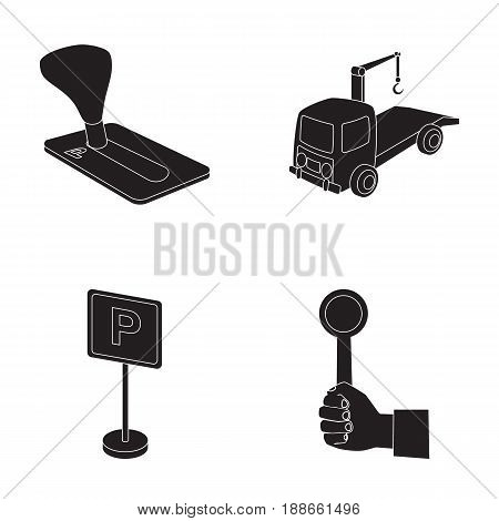 Transmission handle, tow truck, parking sign, stop signal. Parking zone set collection icons in black style vector symbol stock illustration .
