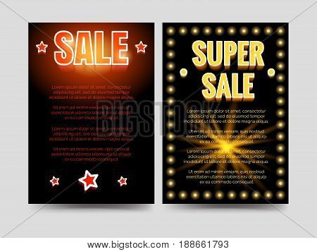 Shining sale and super sale brochure flyers template. Vector illustration