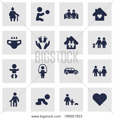 Set Of 16 Family Icons Set.Collection Of House, Family In Home, Creep Baby And Other Elements.