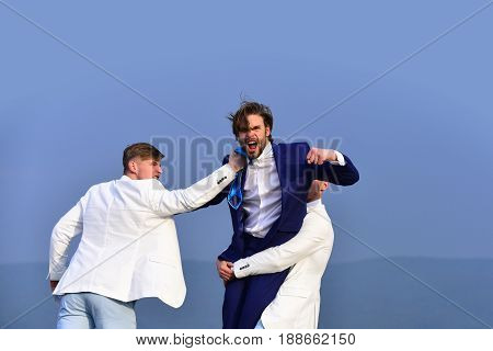 conflict of interest business conflict pressure and raidership boss and employee challenge and situation men fighting