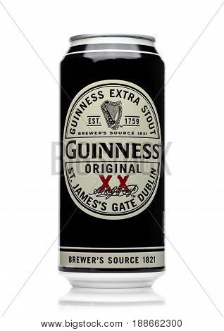 London, Uk - May 29, 2017: Alluminium Can Of Guinness Original Beer On White. Guinness Beer Has Been