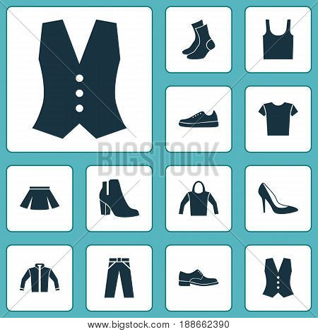 Clothes Icons Set. Collection Of Half-Hose, Casual, Female Winter Shoes And Other Elements. Also Includes Symbols Such As Garment, Woman, Cardigan.