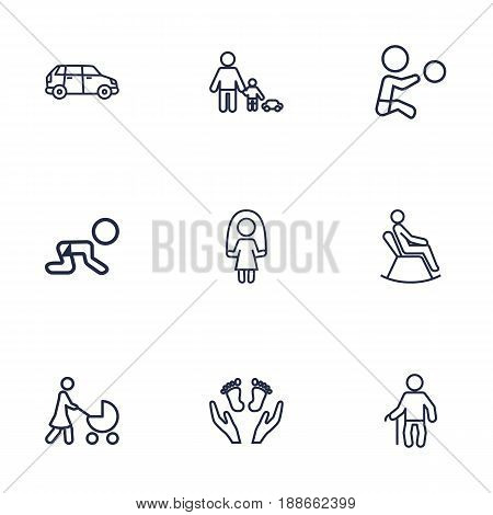 Set Of 9 Relatives Outline Icons Set.Collection Of Boy, Stroller, Crawling Kid And Other Elements.