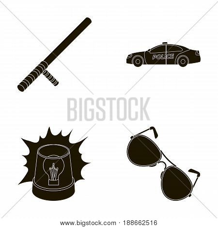 Police baton, auto, flasher, glasses.Police set collection icons in black style vector symbol stock illustration .