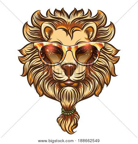 Hipster lion with colorful eyeglasses. Vector colorful boho lion isolated on white background
