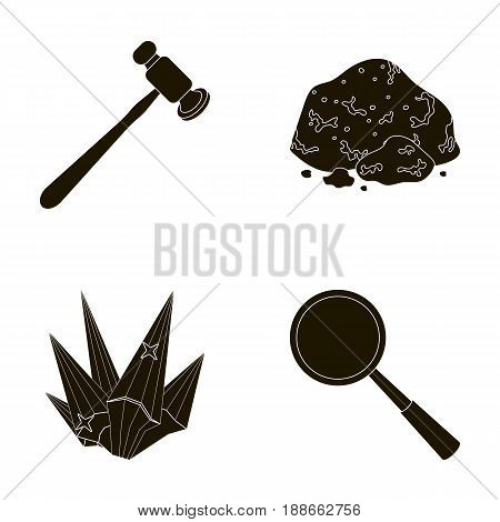 A jeweler s hammer, a magnifier, a copper ore, a crystal. Precious minerals and a jeweler set collection icons in black style vector symbol stock illustration .