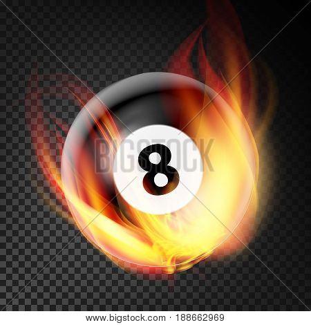 Billiard Ball In Fire Vector Realistic. Burning Billiard Ball