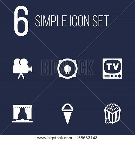 Set Of 6 Pleasure Icons Set.Collection Of Camera, Curtain, Loudspeakers And Other Elements.