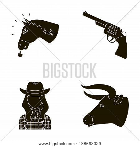 Head of a horse, a bull's head, a revolver, a cowboy girl.Rodeo set collection icons in black style vector symbol stock illustration .