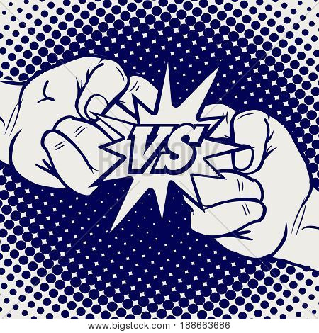Hand drawn versus rivalry fist vector. Male hands battle