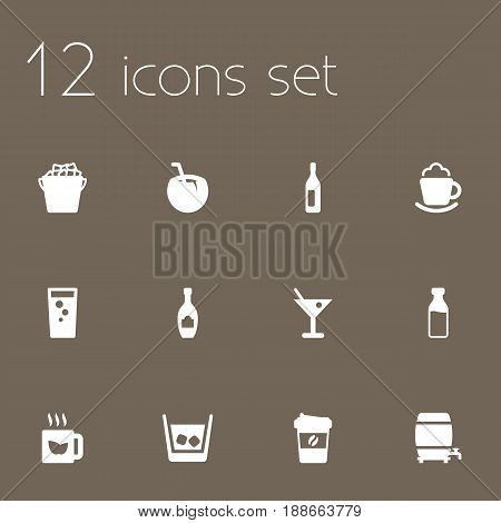 Set Of 12  Icons Set.Collection Of Soda, Alcohol, Cocktail And Other Elements.