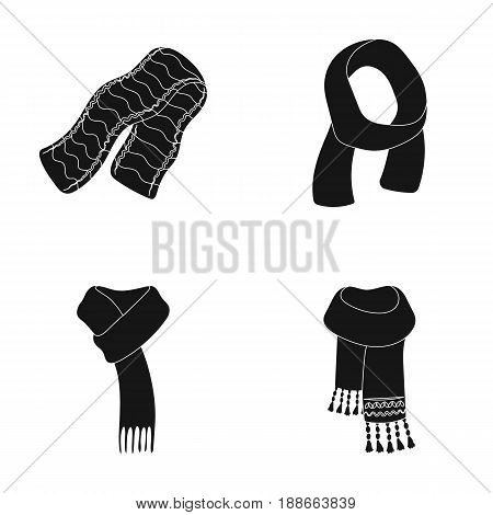 Various kinds of scarves, scarves and shawls. Scarves and shawls set collection icons in black style vector symbol stock illustration .