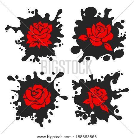 Ink stains and sprays silhouettes with red roses. Vector illustration
