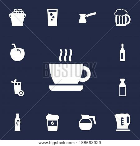 Set Of 13 Drinks Icons Set.Collection Of Electric Teapot, Mug, Hotdrink And Other Elements.