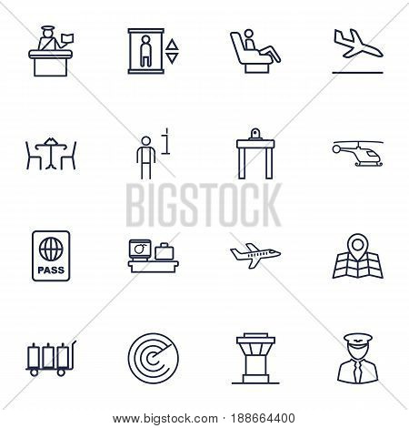 Set Of 16 Aircraft Outline Icons Set.Collection Of Passport Controller, Plane, Certification And Other Elements.