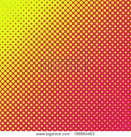 Colorful abstract halftone pattern design - yellow dots on red background - summer sunshine concept vector illustration