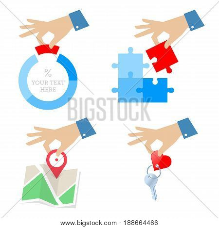 A businessman's hand with diagram, chart, puzzle piece, navigation map, home key. Business problem solving and solution concept flat illustration. Vector design elements isolated on white background.