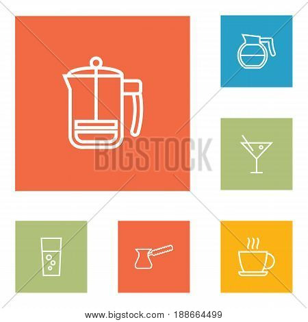 Set Of 6 Beverages Outline Icons Set.Collection Of Hot Drink, Hotdrink, Cocktail And Other Elements.