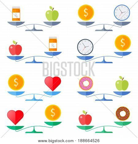 Scales with coin and heart, apple and donut, money and clock, healthy food and pills symbols. Flat concept illustration of balance, libra with wealth, health, time icons. Isolated vector elements.
