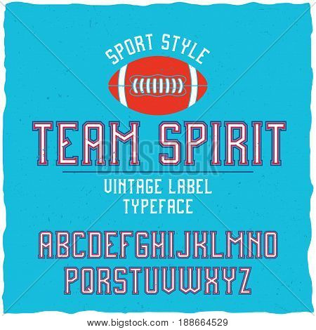 Serif font in the retro style of college. Good to use in any sport theme artworks.