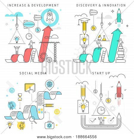 Vector flat line illustration. Increase and Development, Discovery and Innovation, Social media, Start Up concept set. Growth business, writting blog content, start-up, science research processes.