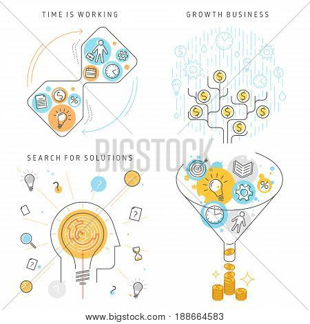 Time Management, Search for solutions, Growth Business concept set. Vector flat line illustrations: money tree, converting ideas, time, work to money and imagination, creativity, inspiration processes