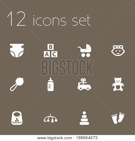 Set Of 12 Baby Icons Set.Collection Of Breastplate, Girl, Bear And Other Elements.