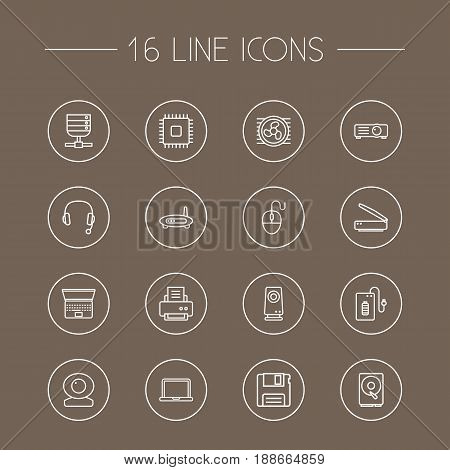 Set Of 16 Computer Outline Icons Set.Collection Of Headphone, Web Cam, Hdd And Other Elements.
