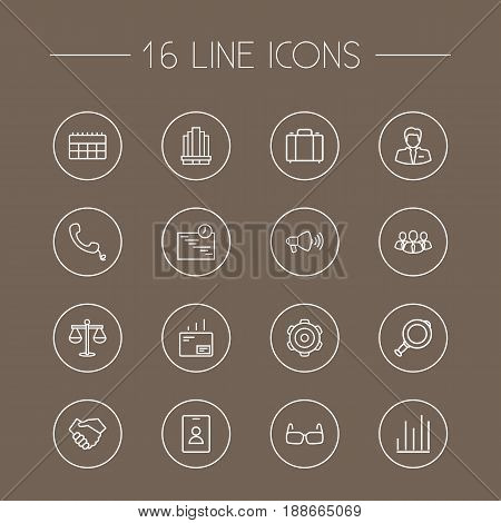 Set Of 16 Management Outline Icons Set.Collection Of Loudspeaker, Calendar, Chart And Other Elements.